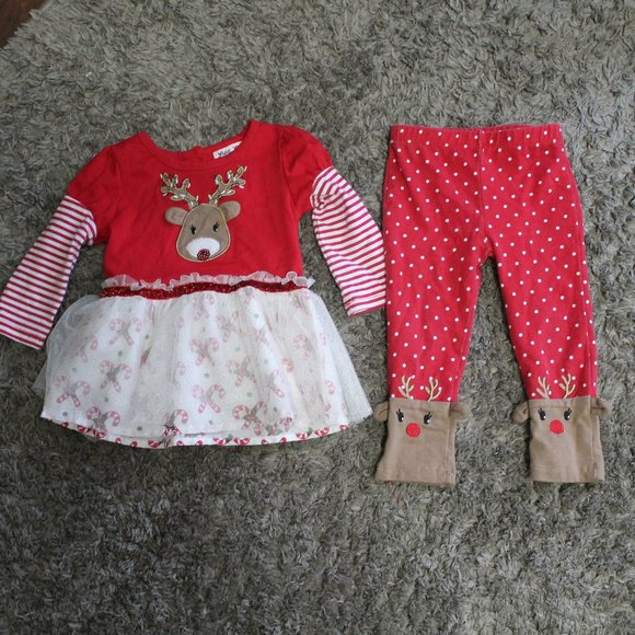 Little Lass Reindeer Red 2pc Christmas Holiday Set